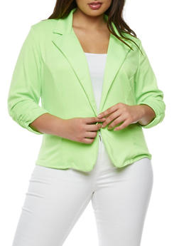 Plus Size One Button Blazer with Ruched Sleeves - 3802020620375