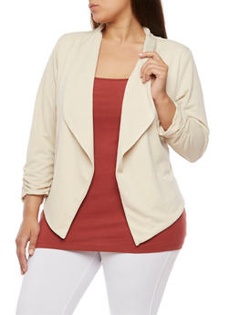Plus Size Open Front Blazer with Ruched Sleeves - KHAKI - 3802020620556