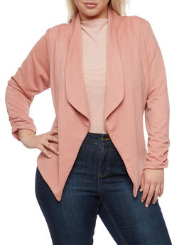 Plus Size Open Front Blazer with Ruched Sleeves - 3802020620556