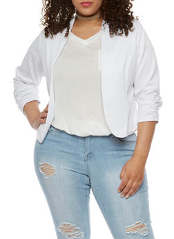 Plus Size Solid Blazer with Ruched Sleeves - 3802020626844