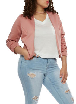 Plus Size Solid Blazer with Ruched Sleeves - DK ROSE - 3802020626844