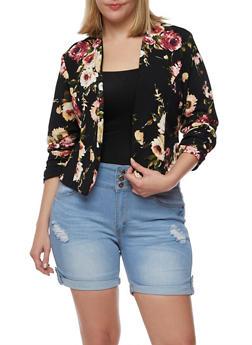 Plus Size Floral Textured Knit Blazer - BLACK - 3802020629668