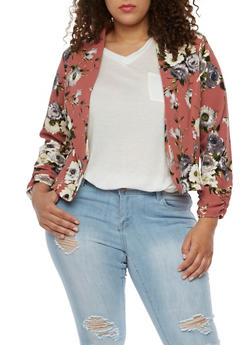 Plus Size Floral Textured Knit Blazer - 3802020629668