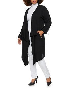 Plus Size Coat with Draped Shawl Lapel - 3802038347016
