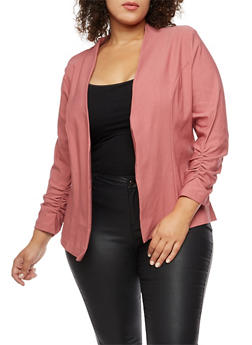 Plus Size Ruched Sleeve Blazer - 3802062700113