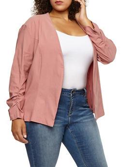 Plus Size Ruched Sleeve Blazer - BLUSH - 3802062700113