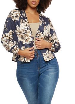 Plus Size Floral Blazer - 3802062700973