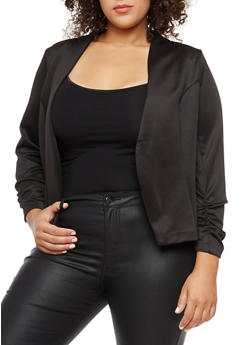 Plus Size Open Front Ruched Sleeve Blazer - BLACK - 3802062701130