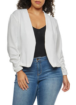 Plus Size Open Front Ruched Sleeve Blazer - IVORY  OFF WHITE - 3802062701130