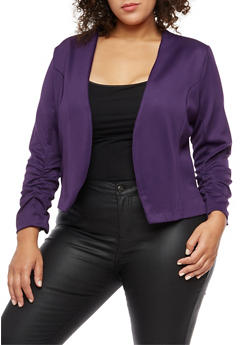 Plus Size Open Front Ruched Sleeve Blazer - PLUM - 3802062701130