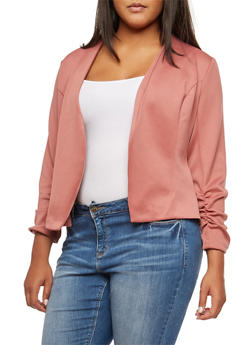 Plus Size Open Front Ruched Sleeve Blazer - 3802062701130