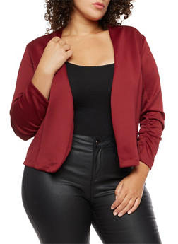 Plus Size Open Front Ruched Sleeve Blazer - BURGUNDY - 3802062701130