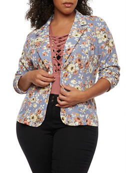 Plus Size Floral Blazer with Ruched Sleeves - BLUE  MID F 153 - 3802062701310