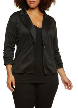 Plus Size Blazer with Ruched Elastic Sleeves - BLACK - 3802062703020