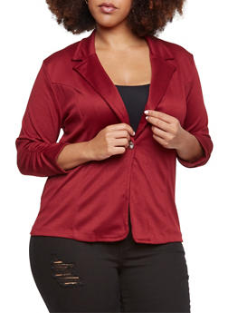 Plus Size Blazer with Ruched Elastic Sleeves - WINE - 3802062703020