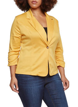 Plus Size Blazer with Ruched Elastic Sleeves - MUSTARD - 3802062703020