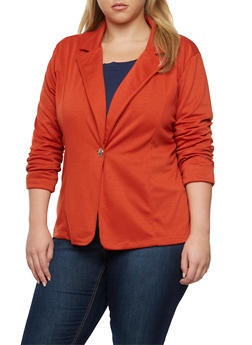 Plus Size Blazer with Ruched Elastic Sleeves - RUST - 3802062703020