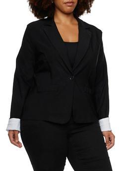Plus Size Stretch Blazer with Notch Lapel - BLACK - 3802062703057