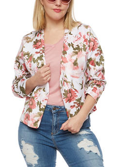 Plus Size Floral Blazer with Ruched Sleeves - 3802062703103
