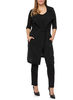 Plus Size Sleeveless Duster with Belt - 3802068700026