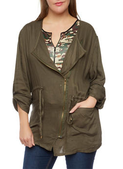 Plus Size Lightweight Jacket with Asymmetrical Zip - 3802068700172