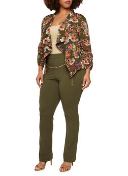 Plus Size Floral Jacket with Zip Pockets - 3802068700387