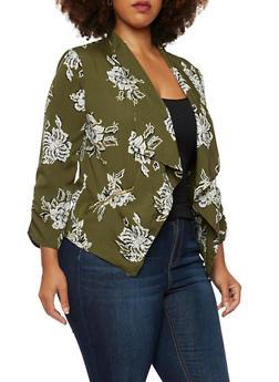 Plus Size Draped Blazer in Floral Print - 3802068700529