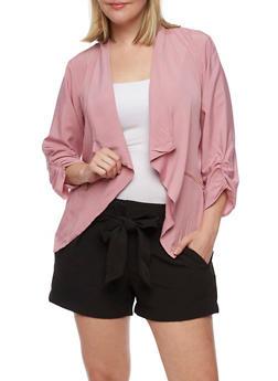 Plus Size Solid Flyaway Jacket with Zip Pockets - 3802068702833
