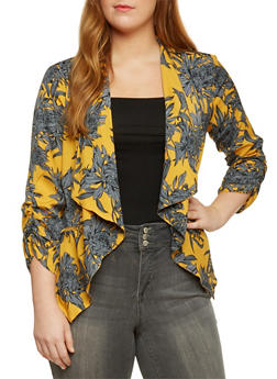 Plus Size Floral Jacket with Draped Lapel - 3802068703373