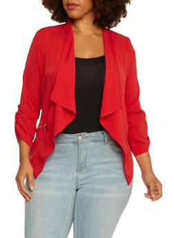 Plus Size Jacket with Draped Shawl Collar - 3802068703375