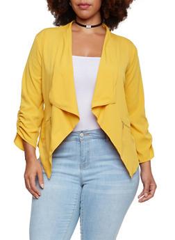 Plus Size Jacket with Draped Shawl Collar - MUSTARD - 3802068703375