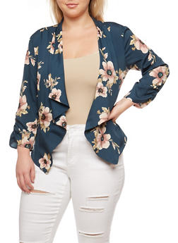 Plus Size Floral Zip Pocket Blazer - 3802068707372