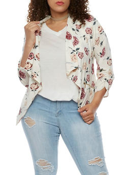 Plus Size Floral Flounce Jacket with Zip Pockets - 3802068708337