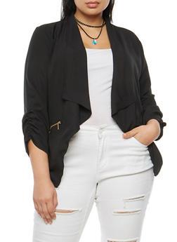 Plus Size Zip Pocket Jacket - 3802068708372