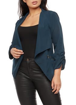Plus Size Zip Pocket Jacket - 3802068708372