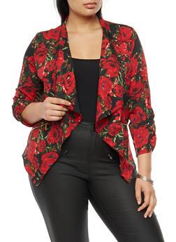 Plus Size Floral Print Blazer - 3802068708373