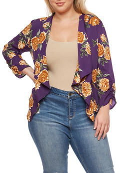 Plus Size Floral Print Ruched Sleeve Blazer - 3802068708374