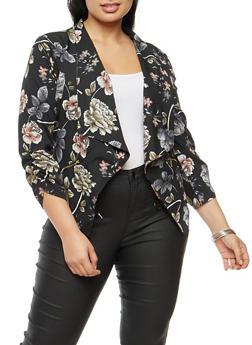 Plus Size Floral Asymmetrical Blazer - 3802068708375
