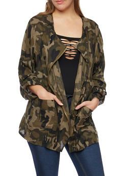 Plus Size Camo Jacket with Drawstring Waist - 3802068709172