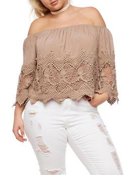 Plus Size Off the Shoulder Crochet Top - 3803035042400
