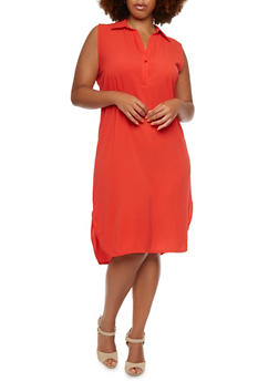 Plus Size Sleeveless Dress with Collar - 3803038342768
