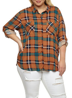 Plus Size Plaid High Low Button Front Top - BROWN - 3803038342868
