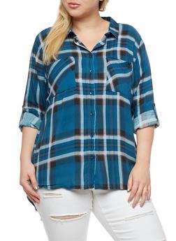 Plus Size Plaid High Low Button Front Top - RYL BLUE - 3803038342868