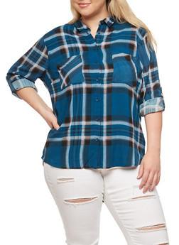 Plus Size Plaid High Low Button Front Top - ROYAL - 3803038342868