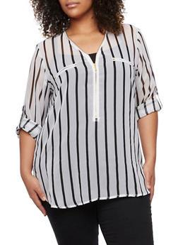 Plus Size Striped Chiffon Top - 3803038347625