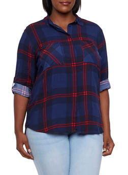 Plus Size Plaid Shirt - 3803038347678