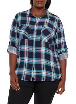 Plus Size Plaid Shirt - AQUA - 3803038347678
