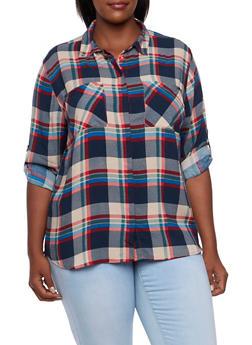 Plus Size Plaid Shirt - RED - 3803038347678