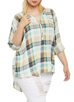 Plus Size Plaid Top with Zip-Up V-Neck - ORANGE/BLK - 3803038347679