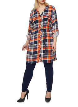Plus Size Plaid Tunic Top with Belt - 3803038347680